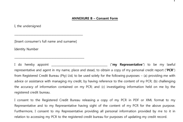 Credit Check Consent Form